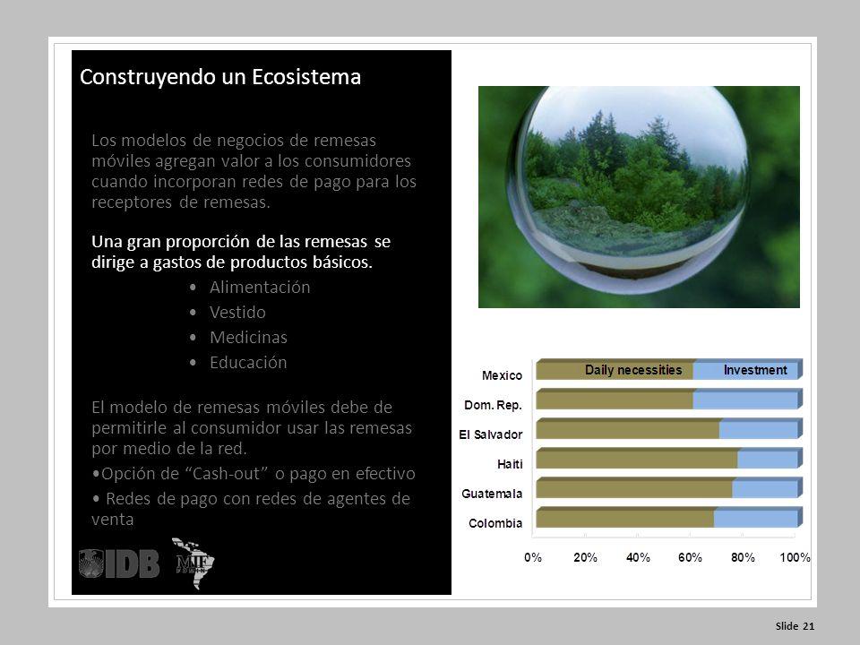 Slide 21 Construyendo un Ecosistema Los modelos de negocios de remesas móviles agregan valor a los consumidores cuando incorporan redes de pago para los receptores de remesas.