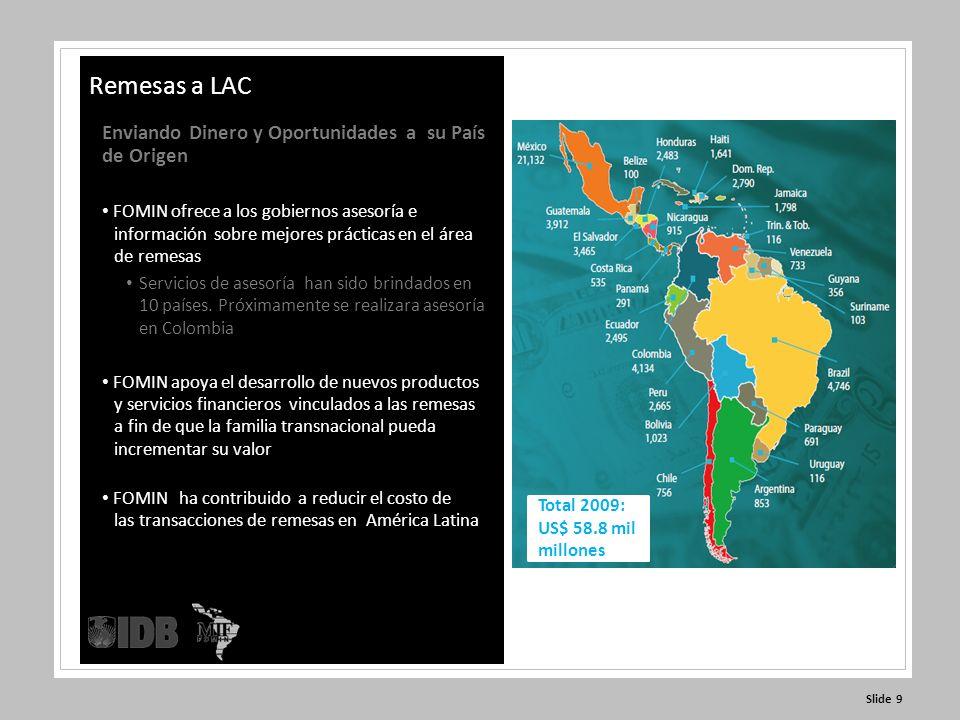 Slide 9 Enviando Dinero y Oportunidades a su País de Origen FOMIN ofrece a los gobiernos asesoría e información sobre mejores prácticas en el área de remesas Servicios de asesoría han sido brindados en 10 países.