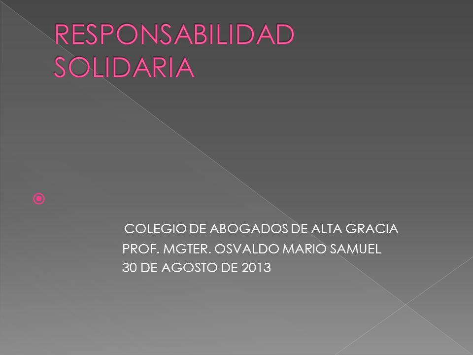COLEGIO DE ABOGADOS DE ALTA GRACIA PROF. MGTER. OSVALDO MARIO SAMUEL 30 DE AGOSTO DE 2013
