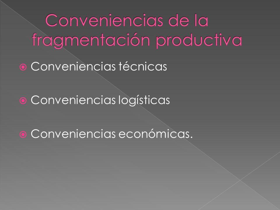 Conveniencias técnicas Conveniencias logísticas Conveniencias económicas.