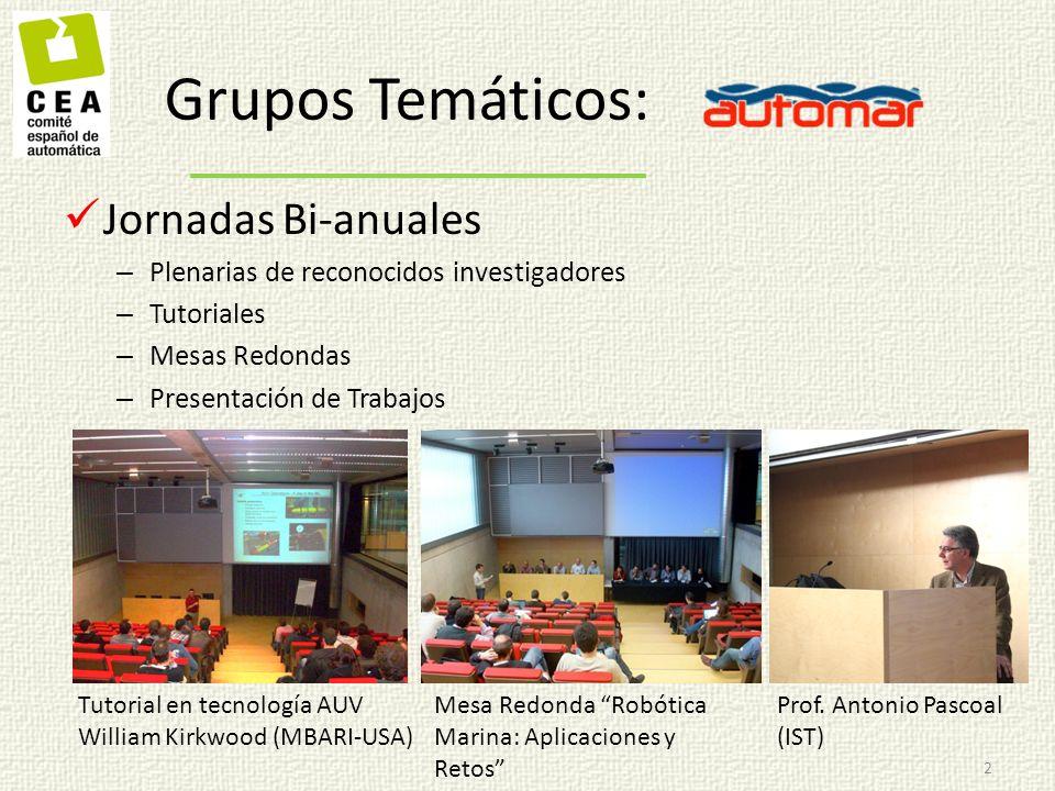 Co-organización de la I-AUV Summer School 3 Grupos Temáticos: