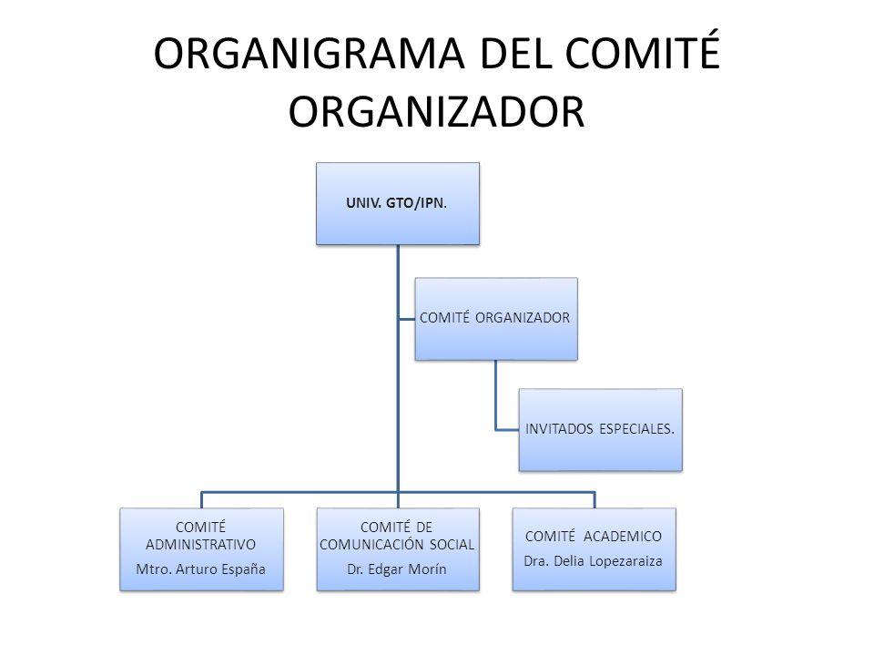 ORGANIGRAMA DEL COMITÉ ORGANIZADOR UNIV. GTO/IPN. COMITÉ ACADEMICO Dra. Delia Lopezaraiza COMITÉ DE COMUNICACIÓN SOCIAL Dr. Edgar Morín COMITÉ ADMINIS