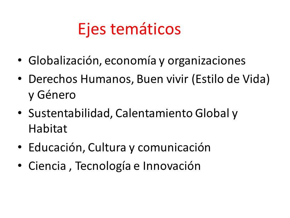 Ejes temáticos Globalización, economía y organizaciones Derechos Humanos, Buen vivir (Estilo de Vida) y Género Sustentabilidad, Calentamiento Global y