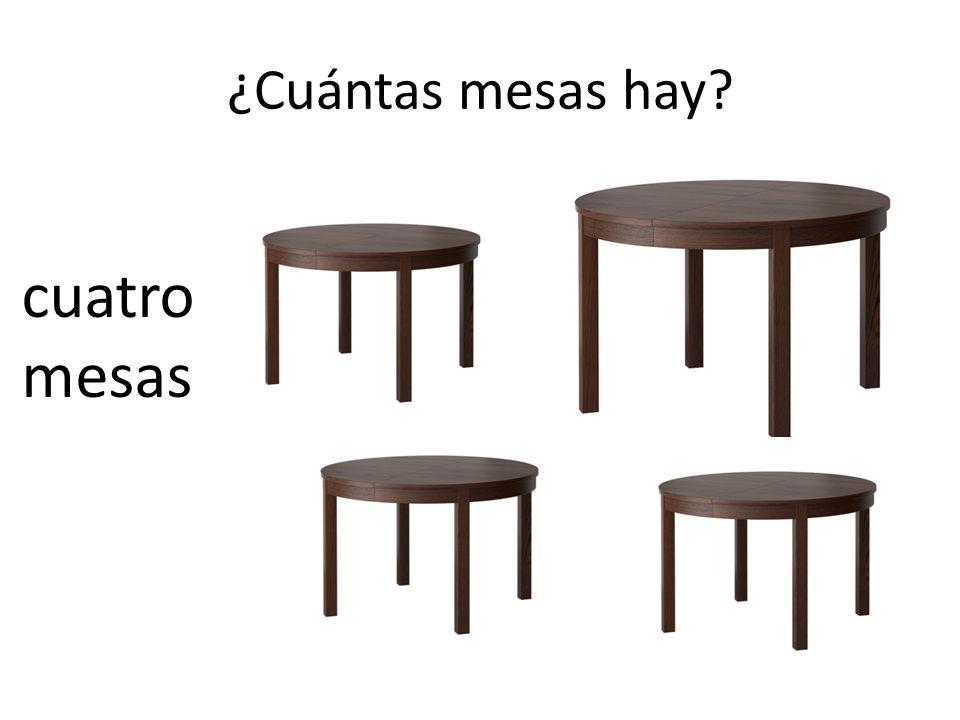 ¿Cuántas mesas hay? cuatro mesas