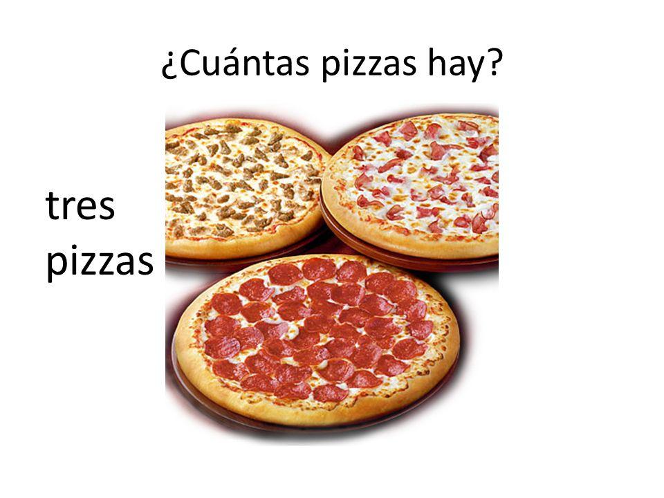 ¿Cuántas pizzas hay? tres pizzas