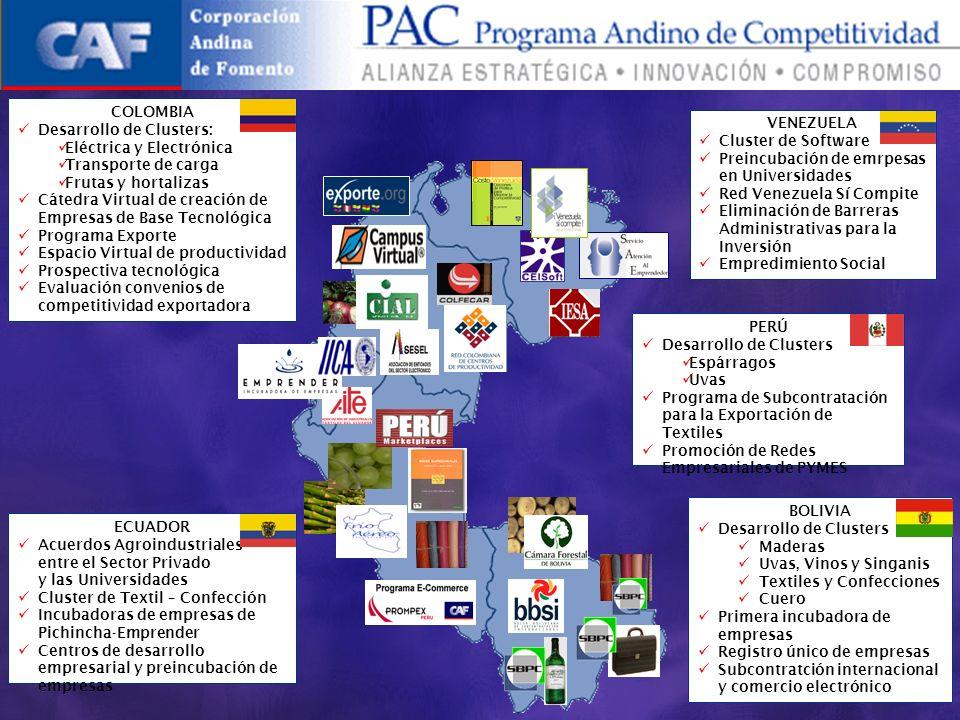 VENEZUELA Cluster de Software Preincubación de emrpesas en Universidades Red Venezuela Sí Compite Eliminación de Barreras Administrativas para la Inversión Empredimiento Social PERÚ Desarrollo de Clusters Espárragos Uvas Programa de Subcontratación para la Exportación de Textiles Promoción de Redes Empresariales de PYMES BOLIVIA Desarrollo de Clusters Maderas Uvas, Vinos y Singanis Textiles y Confecciones Cuero Primera incubadora de empresas Registro único de empresas Subcontratción internacional y comercio electrónico ECUADOR Acuerdos Agroindustriales entre el Sector Privado y las Universidades Cluster de Textil – Confección Incubadoras de empresas de Pichincha-Emprender Centros de desarrollo empresarial y preincubación de empresas COLOMBIA Desarrollo de Clusters: Eléctrica y Electrónica Transporte de carga Frutas y hortalizas Cátedra Virtual de creación de Empresas de Base Tecnológica Programa Exporte Espacio Virtual de productividad Prospectiva tecnológica Evaluación convenios de competitividad exportadora