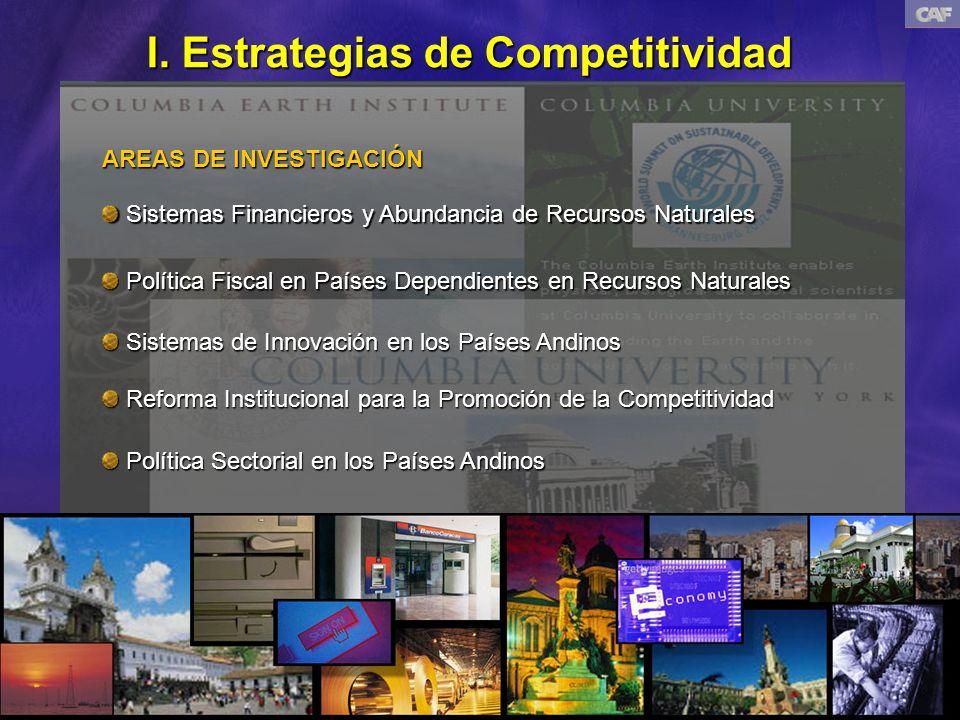 I. Estrategias de Competitividad AREAS DE INVESTIGACIÓN Política Fiscal en Países Dependientes en Recursos Naturales Política Fiscal en Países Dependi