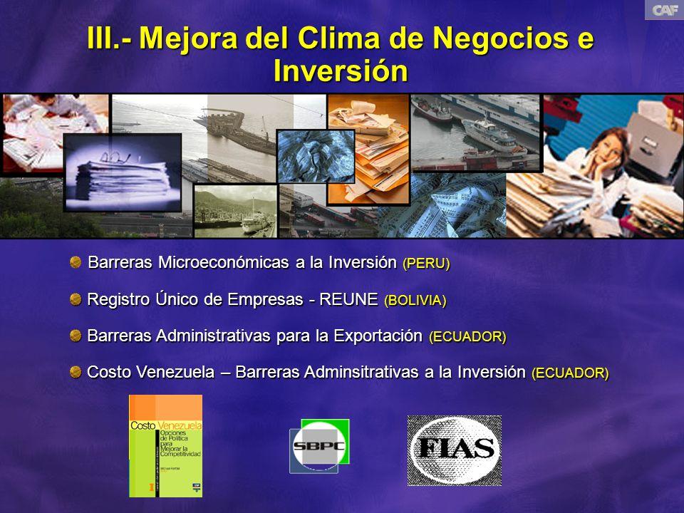 III.- Mejora del Clima de Negocios e Inversión Barreras Microeconómicas a la Inversión (PERU) Registro Único de Empresas - REUNE (BOLIVIA) Registro Único de Empresas - REUNE (BOLIVIA) Barreras Administrativas para la Exportación (ECUADOR) Barreras Administrativas para la Exportación (ECUADOR) Costo Venezuela – Barreras Adminsitrativas a la Inversión (ECUADOR) Costo Venezuela – Barreras Adminsitrativas a la Inversión (ECUADOR)