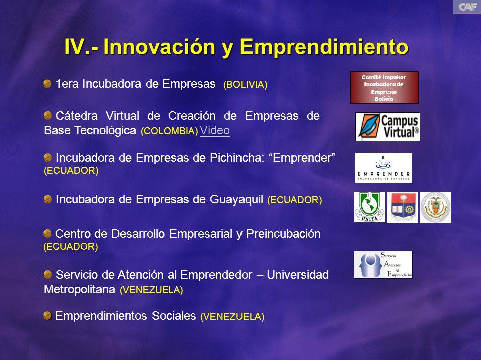 IV.- Innovación y Emprendimiento 1era Incubadora de Empresas (BOLIVIA) Comité Impulsor Incubadora de Empresas Bolivia Cátedra Virtual de Creación de Empresas de Base Tecnológica (COLOMBIA) VideoVideo Incubadora de Empresas de Pichincha: Emprender (ECUADOR) Incubadora de Empresas de Guayaquil (ECUADOR) Centro de Desarrollo Empresarial y Preincubación (ECUADOR) Servicio de Atención al Emprendedor – Universidad Metropolitana (VENEZUELA) Emprendimientos Sociales (VENEZUELA)