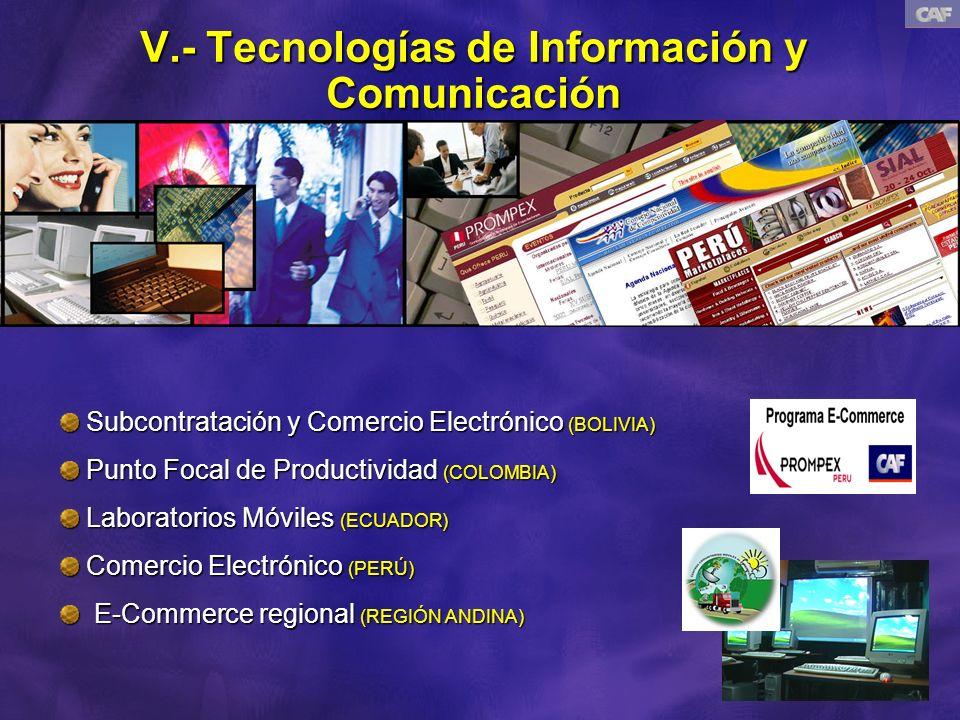 V.- Tecnologías de Información y Comunicación Subcontratación y Comercio Electrónico (BOLIVIA) Subcontratación y Comercio Electrónico (BOLIVIA) Punto Focal de Productividad (COLOMBIA) Punto Focal de Productividad (COLOMBIA) Laboratorios Móviles (ECUADOR) Laboratorios Móviles (ECUADOR) Comercio Electrónico (PERÚ) Comercio Electrónico (PERÚ) E-Commerce regional (REGIÓN ANDINA) E-Commerce regional (REGIÓN ANDINA)