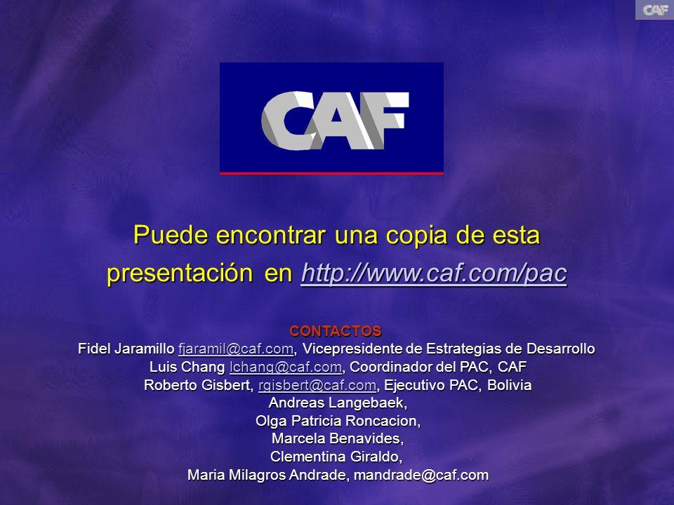 Puede encontrar una copia de esta presentación en http://www.caf.com/pac http://www.caf.com/pac CONTACTOS Fidel Jaramillo fjaramil@caf.com, Vicepresidente de Estrategias de Desarrollo fjaramil@caf.com Luis Chang lchang@caf.com, Coordinador del PAC, CAF lchang@caf.com Roberto Gisbert, rgisbert@caf.com, Ejecutivo PAC, Bolivia rgisbert@caf.com Andreas Langebaek, Olga Patricia Roncacion, Marcela Benavides, Clementina Giraldo, Maria Milagros Andrade, mandrade@caf.com