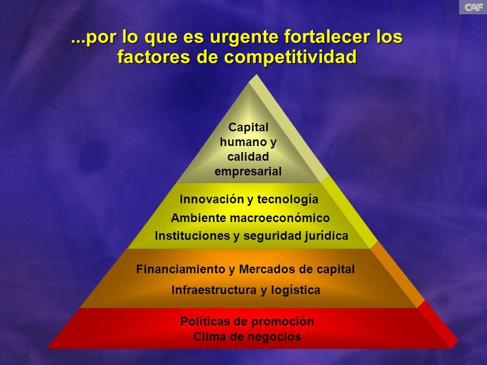 Promoción de la competitividad es compleja y requiere red de alianzas SECTORES PRODUCTIVOS/CLUSTERS Capital Humano y Empresarial Capital Humano y Empresarial Ambiente Macroeconómico Ambiente Macroeconómico Calidad de las Instituciones Calidad de las Instituciones Tecnología e Innovación Tecnología e Innovación Financiamiento Financiamiento Infraestructura y logística Infraestructura y logística Clima de negocios Clima de negocios Políticas de Promoción Políticas de Promoción Capital Humano y Empresarial Capital Humano y Empresarial Ambiente Macroeconómico Ambiente Macroeconómico Calidad de las Instituciones Calidad de las Instituciones Tecnología e Innovación Tecnología e Innovación Financiamiento Financiamiento Infraestructura y logística Infraestructura y logística Clima de negocios Clima de negocios Políticas de Promoción Políticas de Promoción FACTORES DE COMPETITIVIDAD REGIONES / CIUDADES GobiernoGobierno (central/local/Poderes) (central/local/Poderes) Sector PrivadoSector Privado (empresas/ gremios) (empresas/ gremios) Sector laboralSector laboral AcademiaAcademia ComunidadComunidad GobiernoGobierno (central/local/Poderes) (central/local/Poderes) Sector PrivadoSector Privado (empresas/ gremios) (empresas/ gremios) Sector laboralSector laboral AcademiaAcademia ComunidadComunidad ACTORESACTORES AlianzasAlianzas