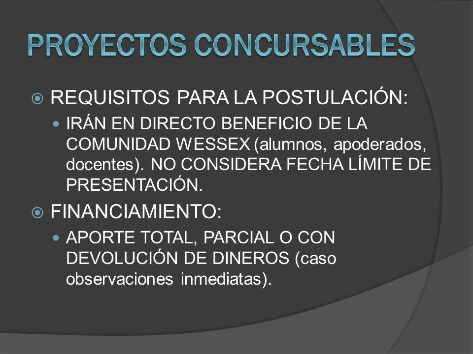 REQUISITOS PARA LA POSTULACIÓN: IRÁN EN DIRECTO BENEFICIO DE LA COMUNIDAD WESSEX (alumnos, apoderados, docentes). NO CONSIDERA FECHA LÍMITE DE PRESENT