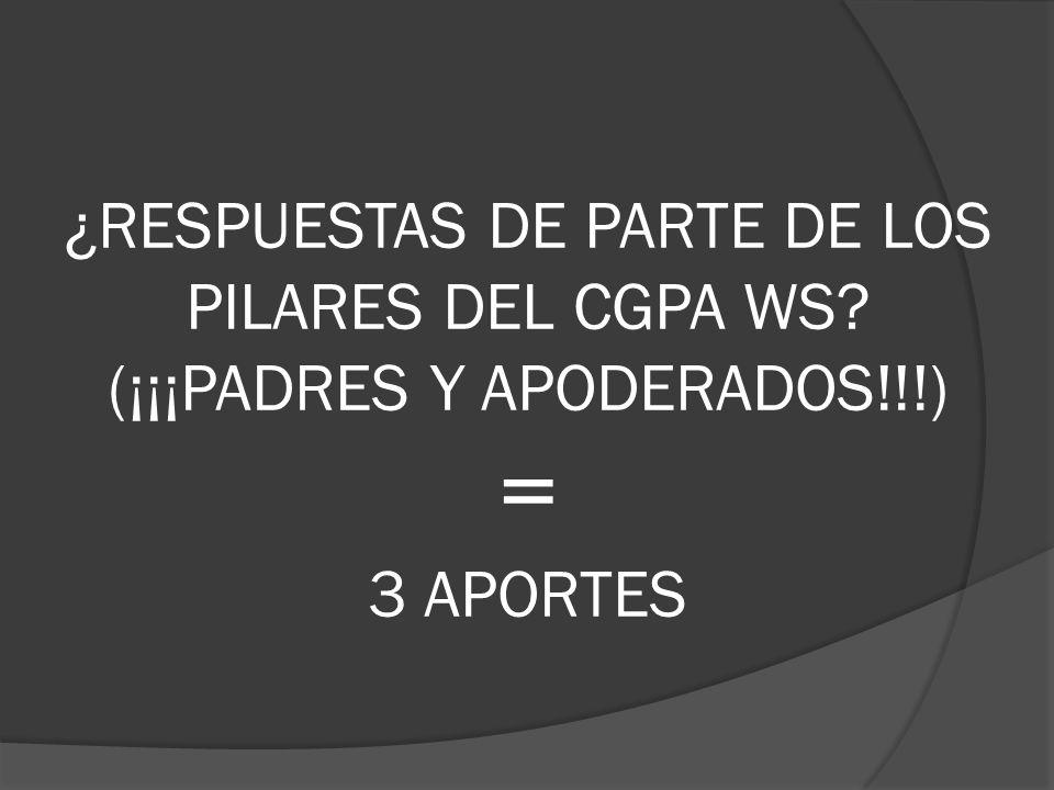¿RESPUESTAS DE PARTE DE LOS PILARES DEL CGPA WS? (¡¡¡PADRES Y APODERADOS!!!) = 3 APORTES