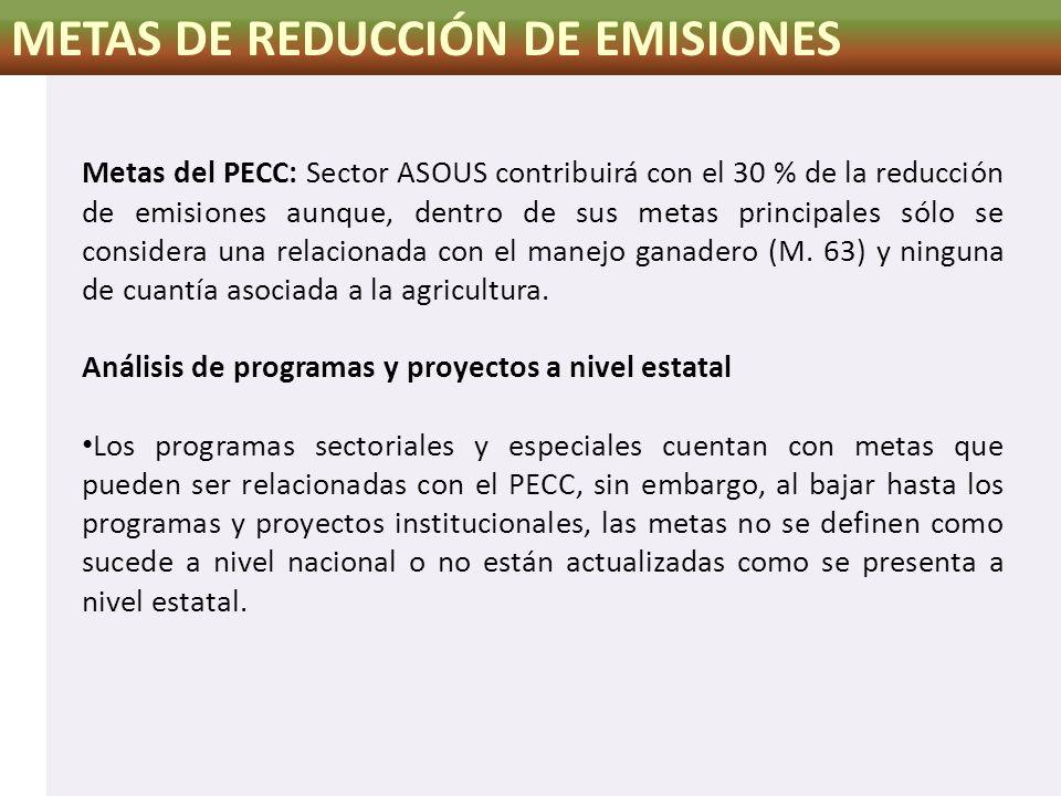 METAS DE REDUCCIÓN DE EMISIONES Metas del PECC: Sector ASOUS contribuirá con el 30 % de la reducción de emisiones aunque, dentro de sus metas principa