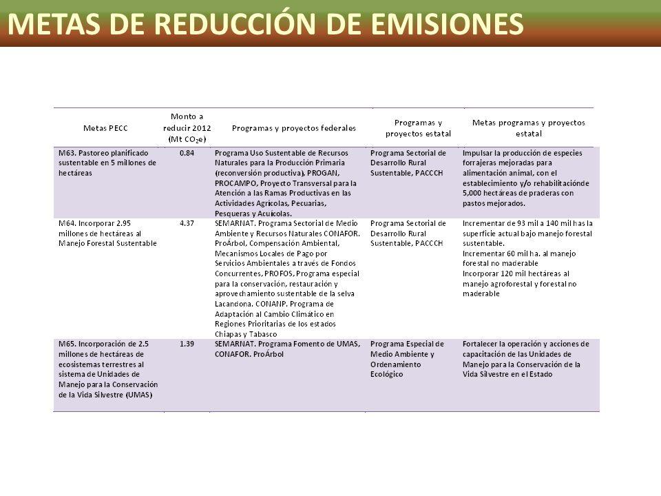 METAS DE REDUCCIÓN DE EMISIONES