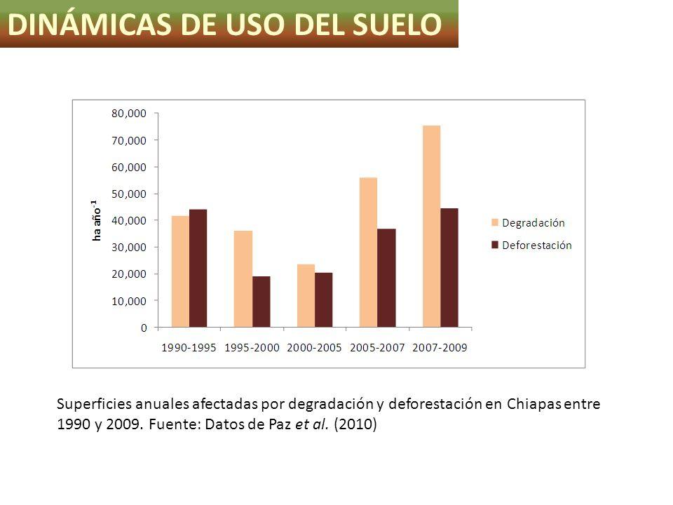 Superficies anuales afectadas por degradación y deforestación en Chiapas entre 1990 y 2009. Fuente: Datos de Paz et al. (2010) DINÁMICAS DE USO DEL SU