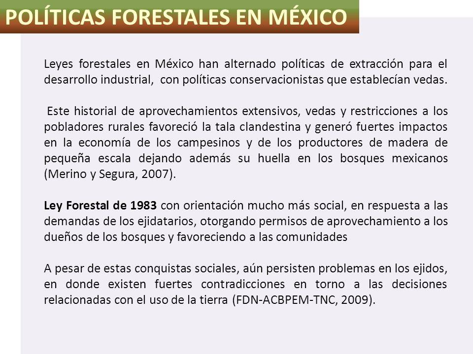 POLÍTICAS FORESTALES EN MÉXICO Leyes forestales en México han alternado políticas de extracción para el desarrollo industrial, con políticas conservac