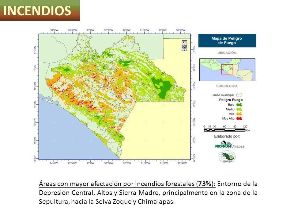 INCENDIOS Áreas con mayor afectación por incendios forestales (73%): Entorno de la Depresión Central, Altos y Sierra Madre, principalmente en la zona