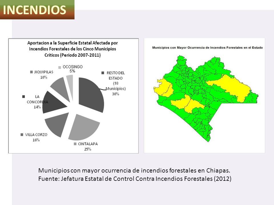 INCENDIOS Municipios con mayor ocurrencia de incendios forestales en Chiapas. Fuente: Jefatura Estatal de Control Contra Incendios Forestales (2012)