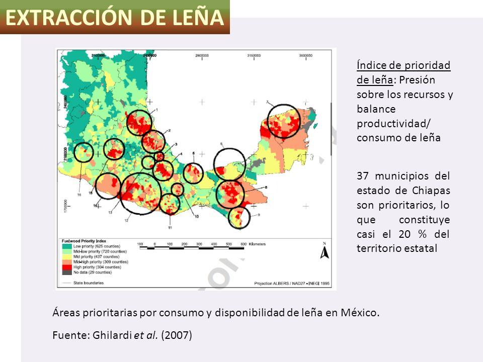 EXTRACCIÓN DE LEÑA Áreas prioritarias por consumo y disponibilidad de leña en México. Fuente: Ghilardi et al. (2007) 37 municipios del estado de Chiap