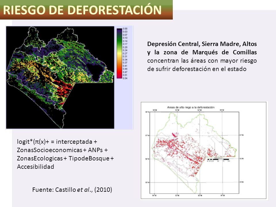 RIESGO DE DEFORESTACIÓN Fuente: Castillo et al., (2010) Depresión Central, Sierra Madre, Altos y la zona de Marqués de Comillas concentran las áreas c