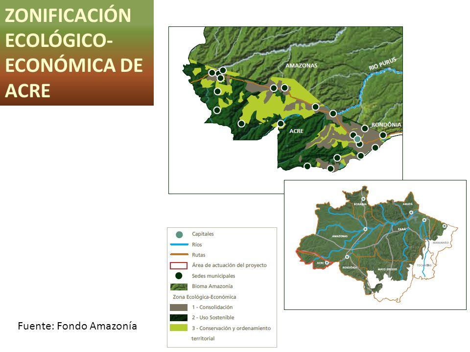 ZONIFICACIÓN ECOLÓGICO- ECONÓMICA DE ACRE Fuente: Fondo Amazonía