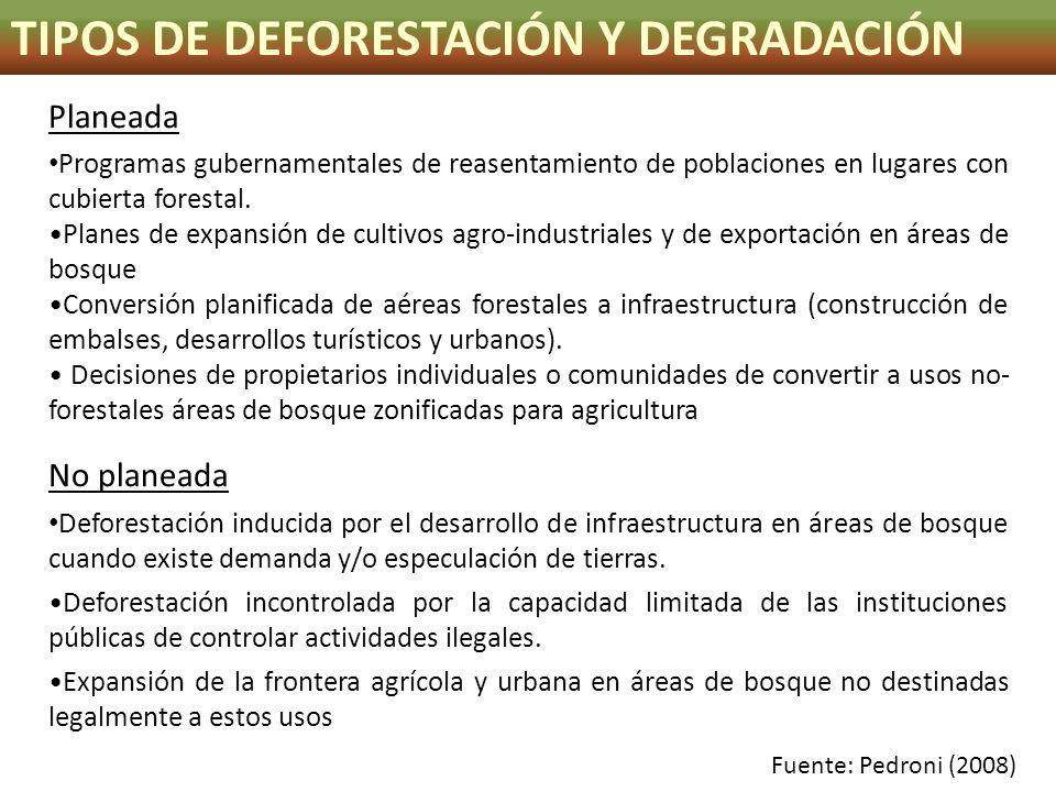 TIPOS DE DEFORESTACIÓN Y DEGRADACIÓN Planeada Programas gubernamentales de reasentamiento de poblaciones en lugares con cubierta forestal. Planes de e