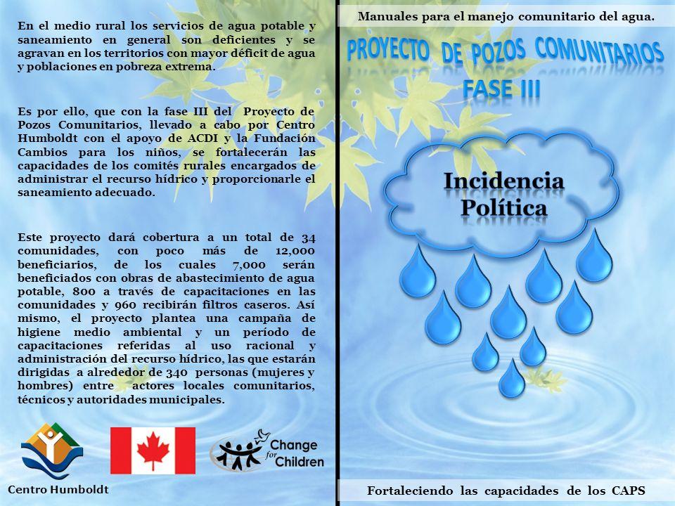 Manuales para el manejo comunitario del agua. Fortaleciendo las capacidades de los CAPS Centro Humboldt En el medio rural los servicios de agua potabl