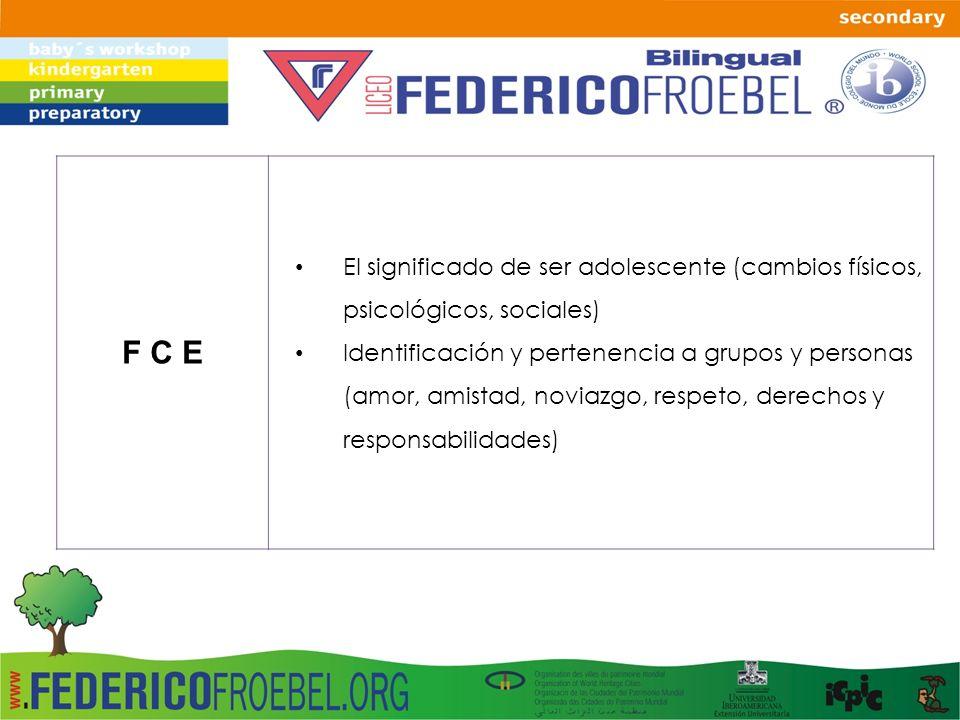 F C E El significado de ser adolescente (cambios físicos, psicológicos, sociales) Identificación y pertenencia a grupos y personas (amor, amistad, nov