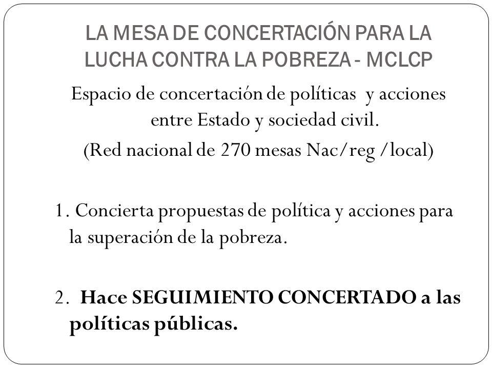 LA MESA DE CONCERTACIÓN PARA LA LUCHA CONTRA LA POBREZA - MCLCP Espacio de concertación de políticas y acciones entre Estado y sociedad civil. (Red na