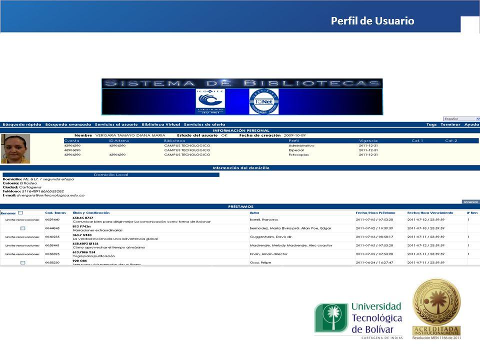 Servicios de Biblioteca Perfil de Usuario