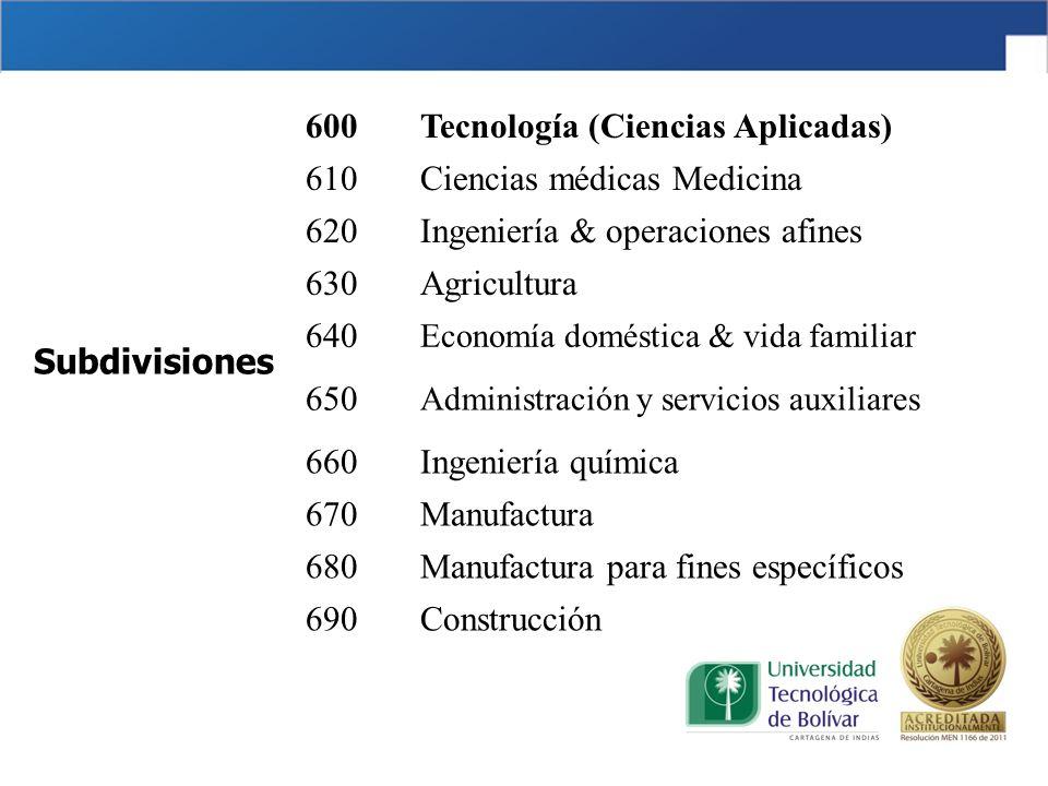 600Tecnología (Ciencias Aplicadas) 610Ciencias médicas Medicina 620Ingeniería & operaciones afines 630Agricultura 640 Economía doméstica & vida famili