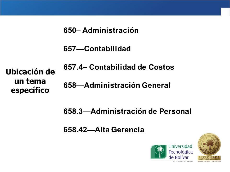 650– Administración 657Contabilidad 657.4– Contabilidad de Costos 658Administración General 658.3Administración de Personal 658.42Alta Gerencia Ubicac