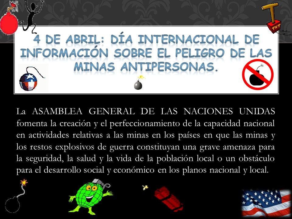 La ASAMBLEA GENERAL DE LAS NACIONES UNIDAS fomenta la creación y el perfeccionamiento de la capacidad nacional en actividades relativas a las minas en