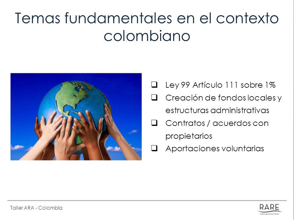 Taller ARA - Colombia Temas fundamentales en el contexto colombiano Ley 99 Artículo 111 sobre 1% Creación de fondos locales y estructuras administrativas Contratos / acuerdos con propietarios Aportaciones voluntarias