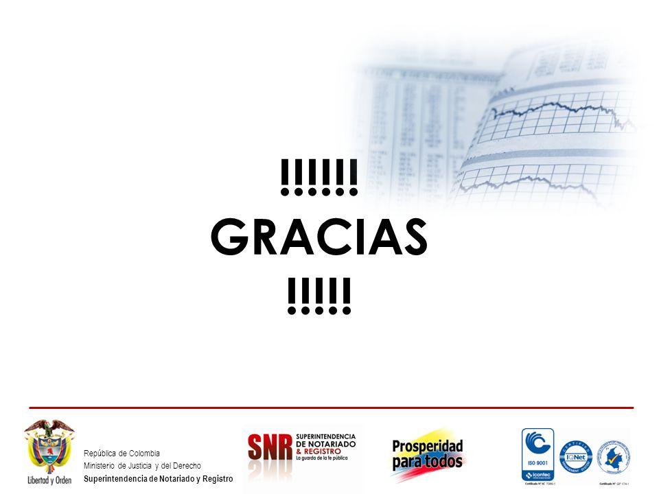 República de Colombia Ministerio de Justicia y del Derecho Superintendencia de Notariado y Registro !!!!!! GRACIAS !!!!!