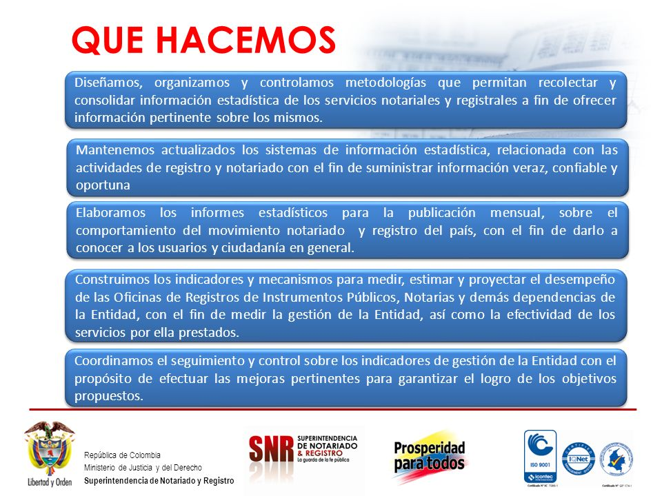 República de Colombia Ministerio de Justicia y del Derecho Superintendencia de Notariado y Registro RESULTADO DEL QUEHACER ANUARIOS ESTADÍSTICOS BOLETINES ESTADÍSTICOS SEGUIMIENTOS ESTUDIOS ESTADÍSTICOS.