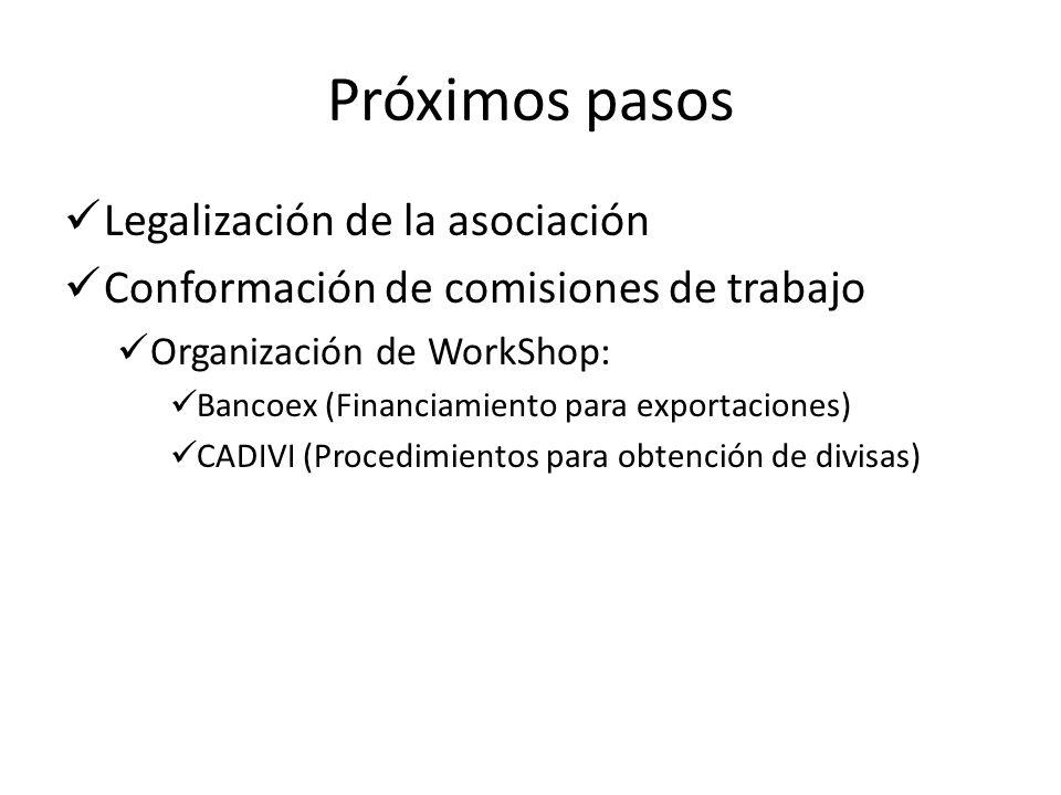 Próximos pasos Legalización de la asociación Conformación de comisiones de trabajo Organización de WorkShop: Bancoex (Financiamiento para exportaciones) CADIVI (Procedimientos para obtención de divisas)