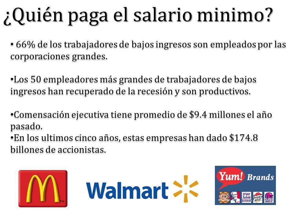¿Quién paga el salario minimo? 66% de los trabajadores de bajos ingresos son empleados por las corporaciones grandes. Los 50 empleadores más grandes d