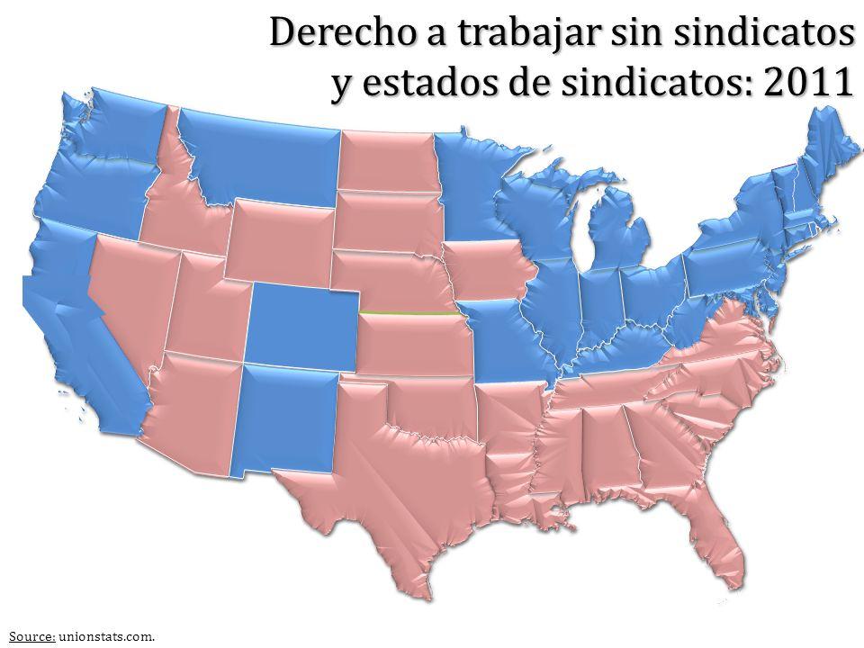 Source: unionstats.com. Derecho a trabajar sin sindicatos y estados de sindicatos: 2011