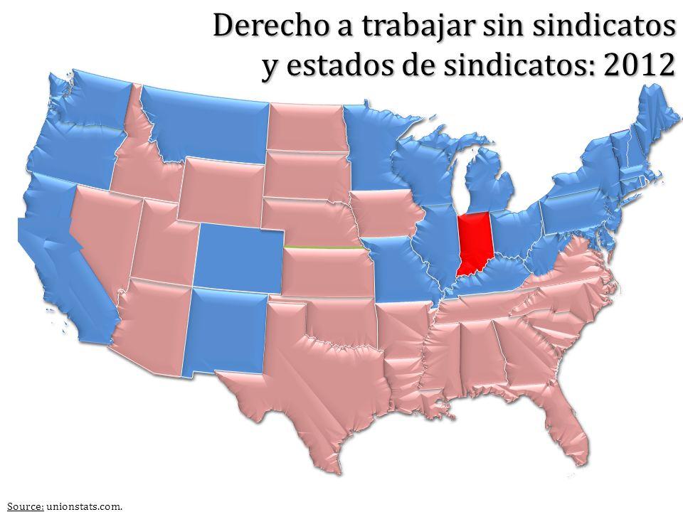 Source: unionstats.com. Derecho a trabajar sin sindicatos y estados de sindicatos: 2012