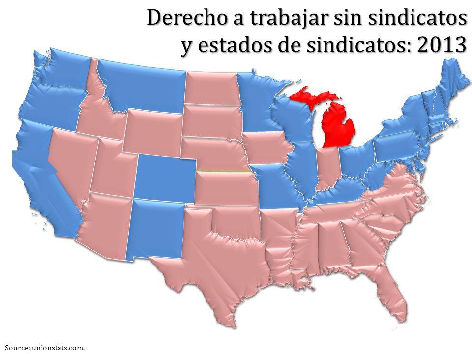 Source: unionstats.com. Derecho a trabajar sin sindicatos y estados de sindicatos: 2013