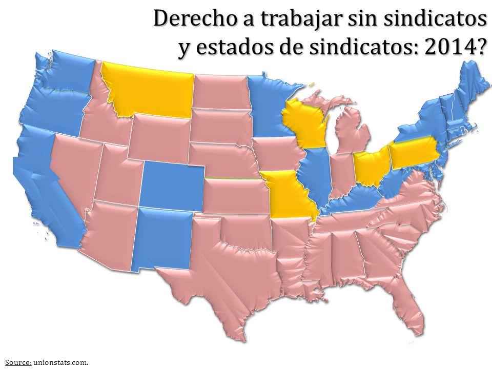 Source: unionstats.com. Derecho a trabajar sin sindicatos y estados de sindicatos: 2014?