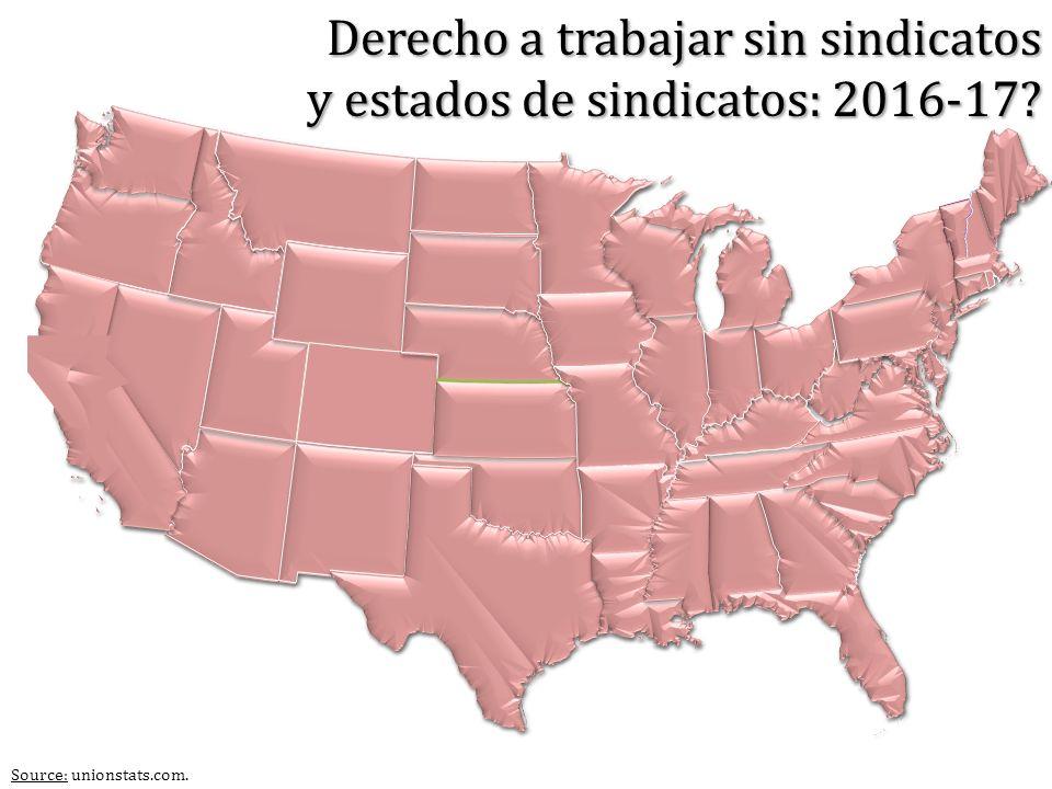 Source: unionstats.com. Derecho a trabajar sin sindicatos y estados de sindicatos: 2016-17?
