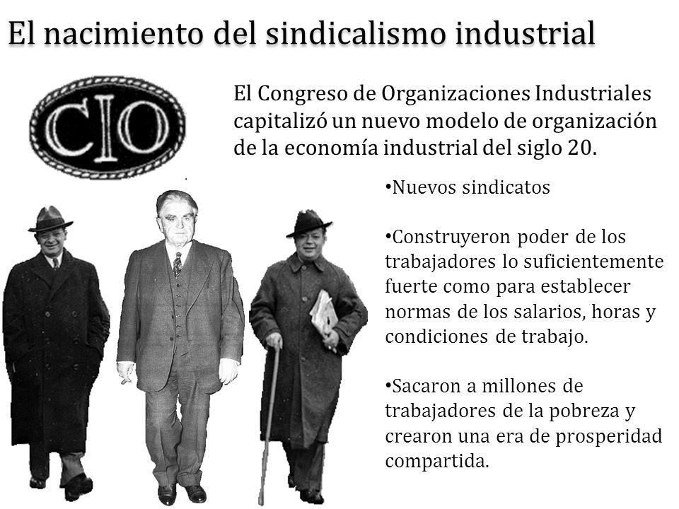 El nacimiento del sindicalismo industrial Nuevos sindicatos Construyeron poder de los trabajadores lo suficientemente fuerte como para establecer norm