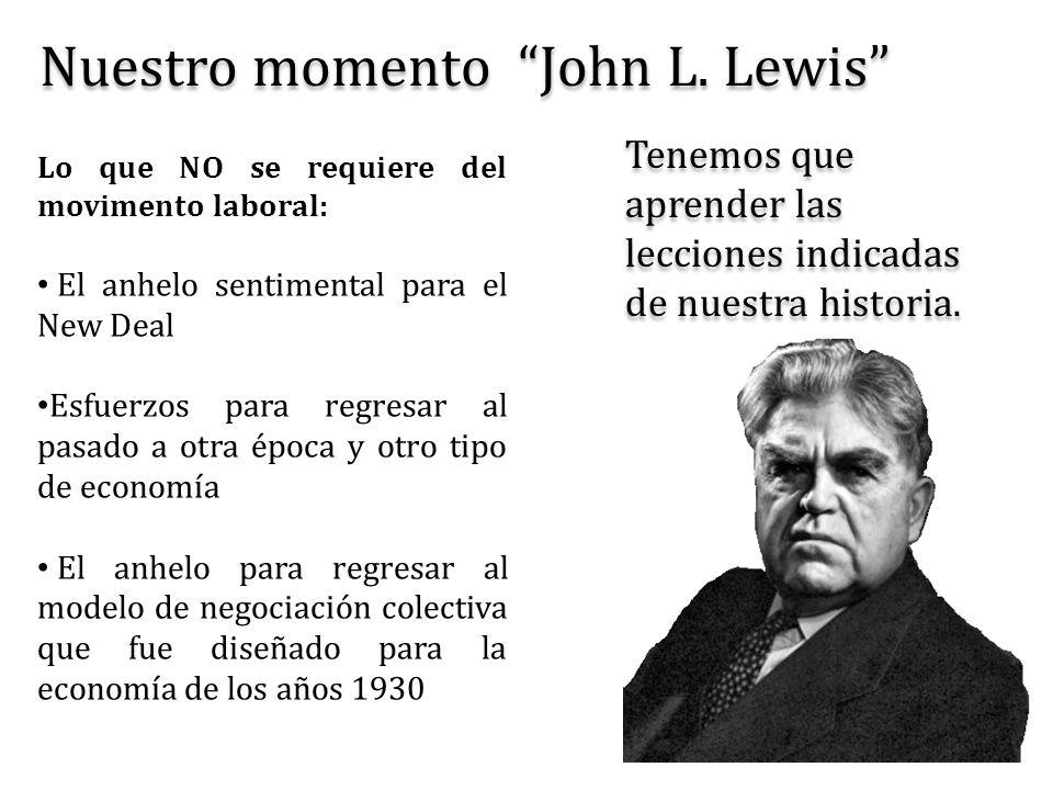 Nuestro momento John L. Lewis Lo que NO se requiere del movimento laboral: El anhelo sentimental para el New Deal Esfuerzos para regresar al pasado a