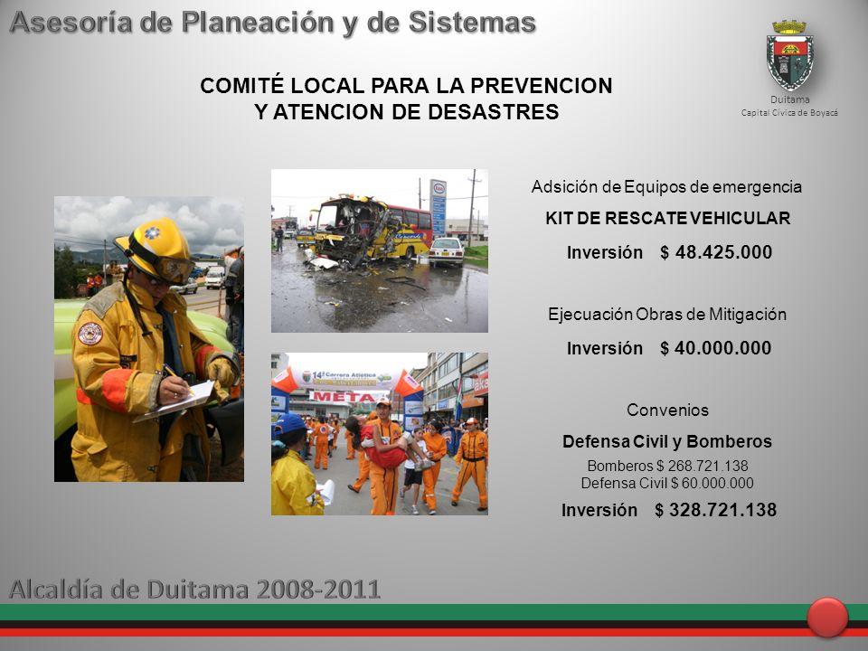 Duitama Capital Cívica de Boyacá COMITÉ LOCAL PARA LA PREVENCION Y ATENCION DE DESASTRES Adsición de Equipos de emergencia KIT DE RESCATE VEHICULAR In