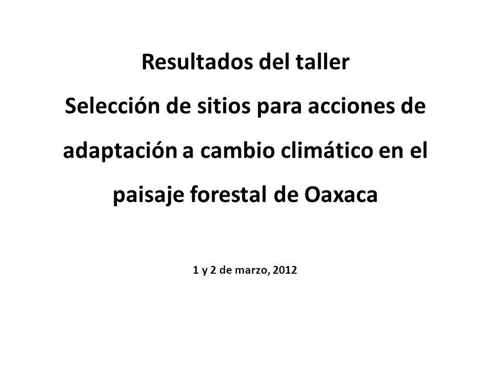 Resultados del taller Selección de sitios para acciones de adaptación a cambio climático en el paisaje forestal de Oaxaca 1 y 2 de marzo, 2012