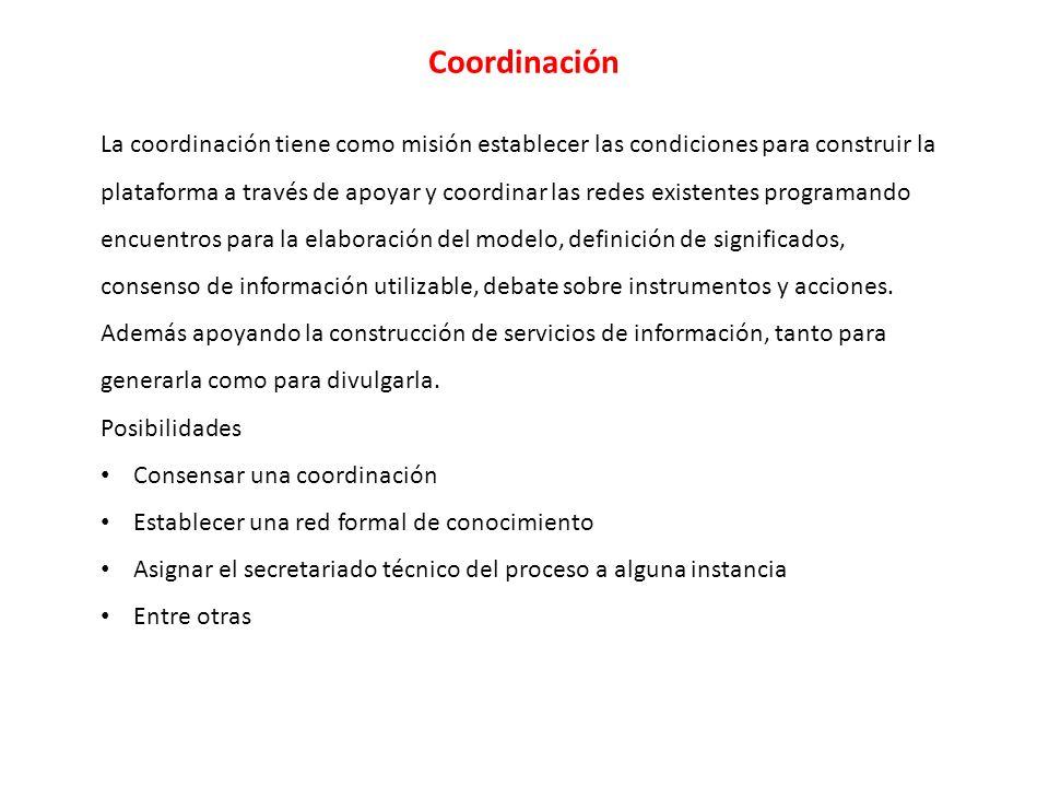 Coordinación La coordinación tiene como misión establecer las condiciones para construir la plataforma a través de apoyar y coordinar las redes existentes programando encuentros para la elaboración del modelo, definición de significados, consenso de información utilizable, debate sobre instrumentos y acciones.